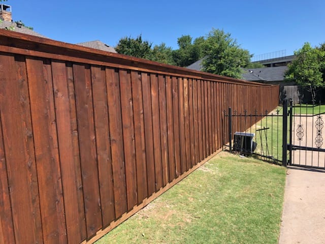 stained board on board cedar fence