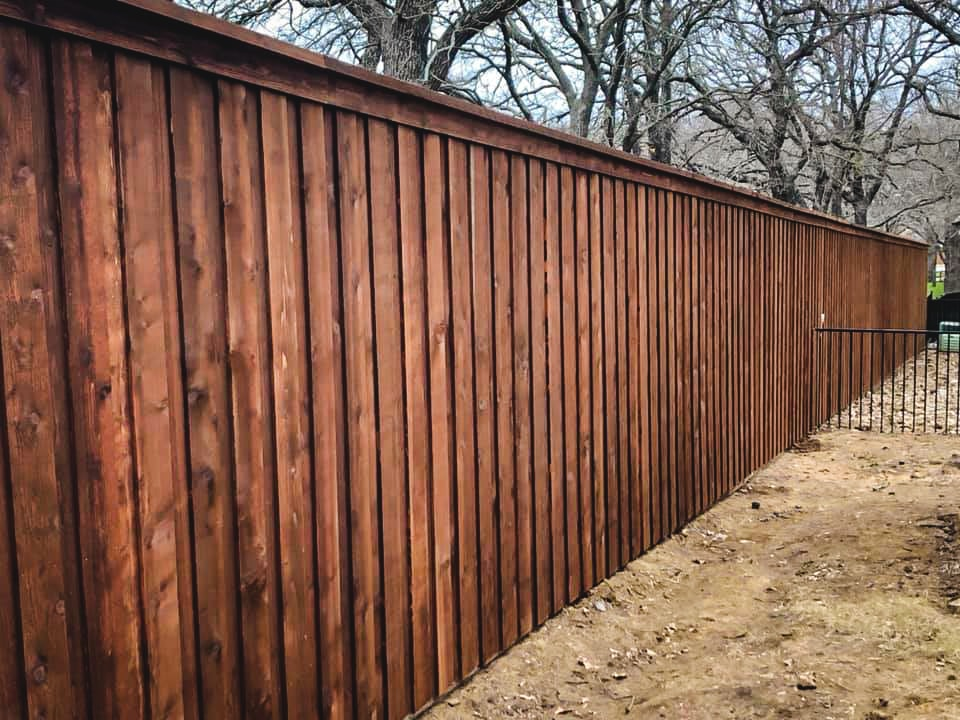 pre-stained cedar board on board fence